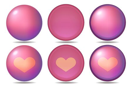 Pink Icon Button Heart Set