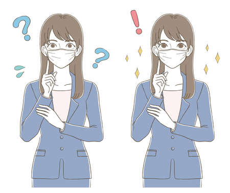 Business upper body illustration set of the woman who wore a suit wearing a hand-drawn style mask
