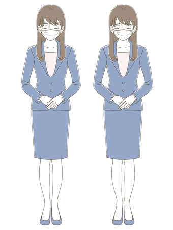 Hand-drawn style Business whole body illustration set of women wearing suits wearing masks bowing