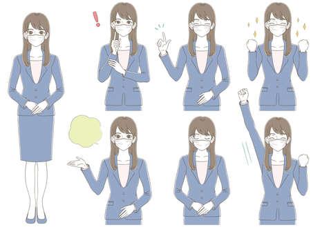 Hand-drawn style Business illustration set of women wearing suits wearing positive masks Ilustração