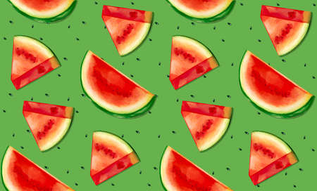 Seamless pattern illustration of watermelon with seeds