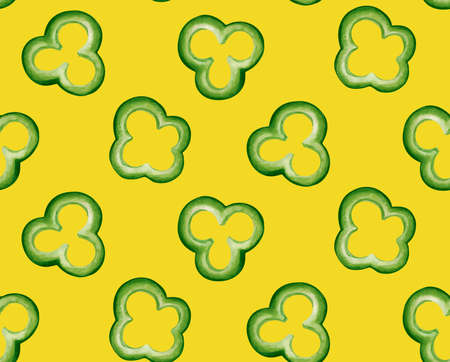 Seamless pattern tying illustration of sliced bell peppers