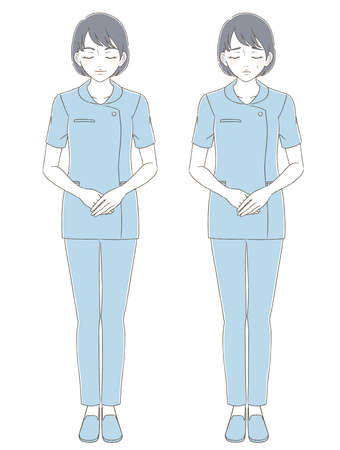 Illustrated facial expression set of a woman wearing a hand-drawn style uniform 向量圖像
