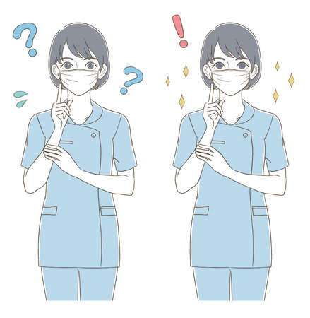 Illustration expression set of a woman wearing a mask wearing a hand-drawn style uniform