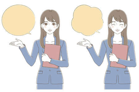 Illustrated facial expression set of a business woman who guides and introduces hand-drawn style