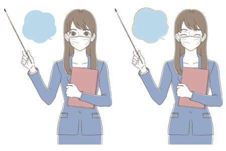 Illustrated facial expression set of a business woman who teaches with an instruction stick with a hand-painted style mask
