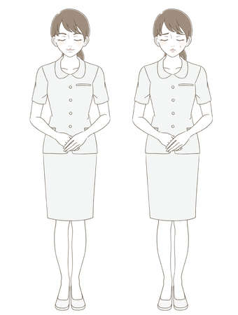 Medical and beauty hand-painted style full-body illustration expression set of a woman wearing a uniform