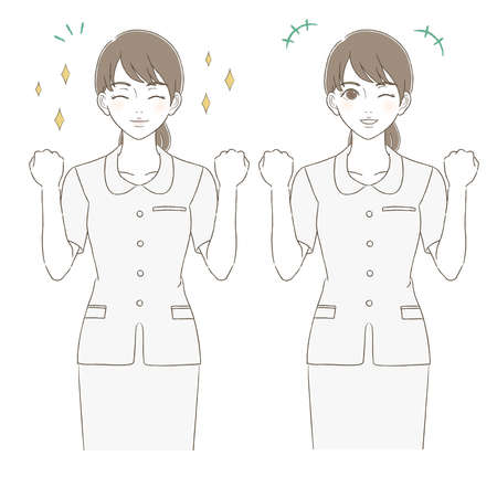 Medical and beauty hand-painted style upper body illustration facial expression set of a woman wearing a uniform