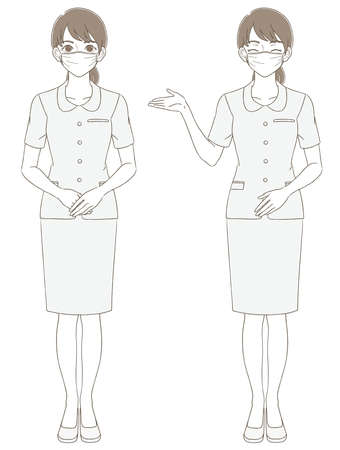 Medical and beauty hand-painted style full-body illustration expression set of women wearing uniforms and wearing masks
