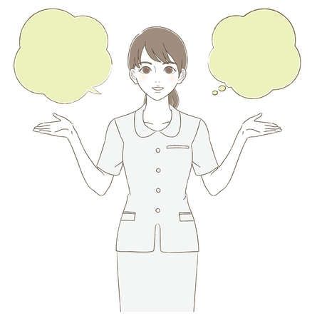 Medical and Beauty Hand-painted Style Illustration of a Woman wearing a Uniform
