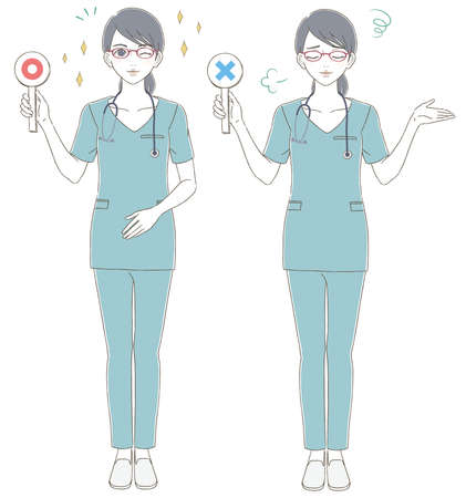 Medical and doctor hand-painted style The whole body illustration set of a female doctor wearing blue scrubs and wearing glasses