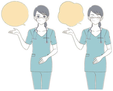 Medical and doctor hand-painted style The whole body illustration set of a female doctor wearing a blue scrub and wearing a mask Illusztráció
