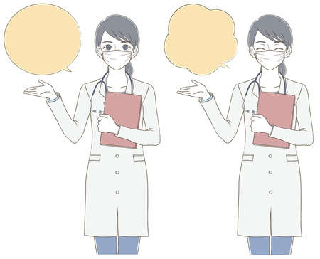 Medical and doctor hand-painted style Full body illustration set of female doctor wearing a white coat and wearing a mask