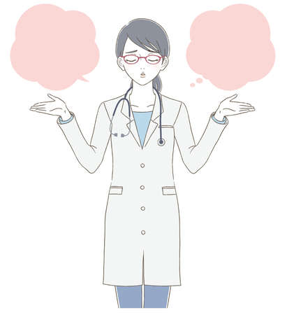 Medical and doctor hand-painted style Full body illustration of a female doctor wearing a white coat and wearing glasses