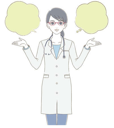 The upper body illustration of a female doctor wearing a white coat and wearing glasses
