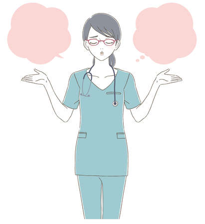 Medical and doctor hand-painted style Full body illustration of a female doctor wearing a white coat and wearing glasses Stock fotó - 156028840