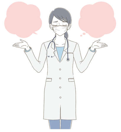 Full body illustration of a female doctor wearing a mask wearing a white coat