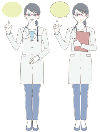 Medical and doctor hand-painted style Full body illustration set of female doctor wearing white coat and glasses