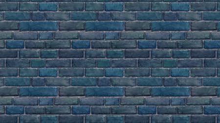 Horizontally sized blue brick wallpaper. Seamless pattern material Stock fotó
