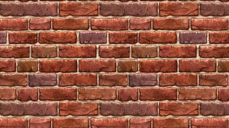 Illustration of a horizontal brown red brick wallpaper. Seamless materials