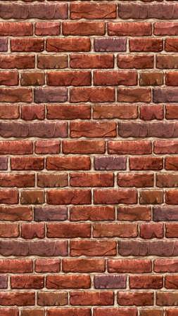 Vertical brown red brick wallpaper. Seamless pattern material