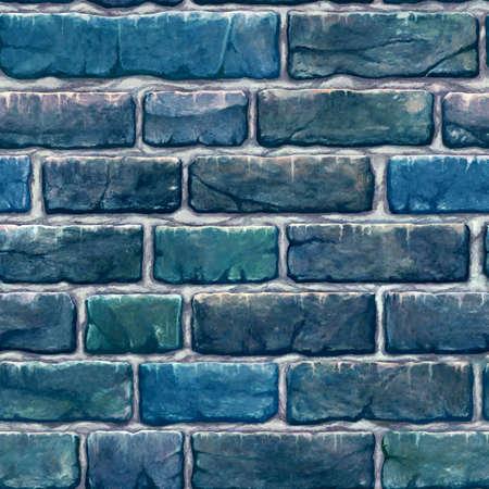 Seamless pattern tyling illustration of non-connecting blue vintage bricks (bricks)