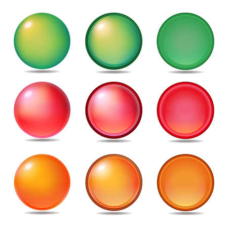 Set of graphic material for 3 types & 3 colors icons and buttons
