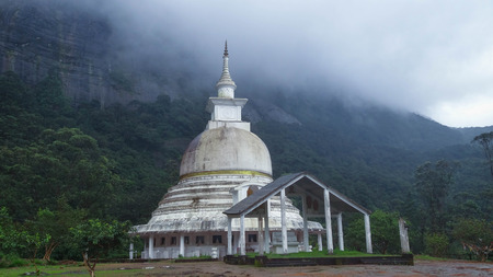Forgotten dagoba under the famous Adams Peak in Sri Lanka
