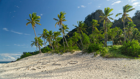 Sunny day in the Monuriki island where the Castaway movie was filmed, Fiji Stock Photo