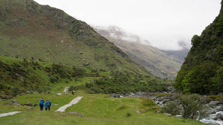 On the way to Rob Roys glacier in Mount Aspiring National Park, New Zealand Stock Photo