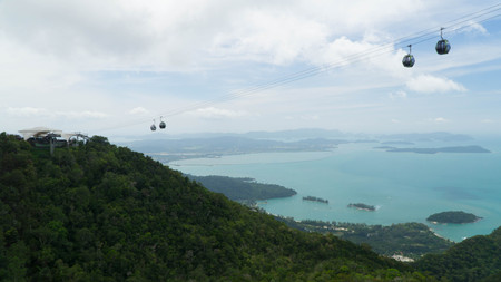 Langkawi Sky Cab leading to the Sky Bridge with an amazing view of Langkawi island, Malaysia