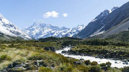 View of the highest peak of New Zealand - Mt. Cook, Hooker Valley Track Stock Photo