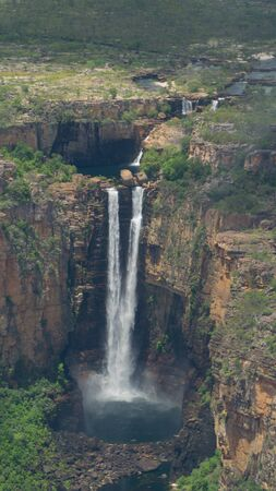 Aerial view of Jim Jim falls hidden in the middle of Kakadu national park, Australia Stock Photo