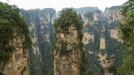 Natural quartz sandstone pillar the Avatar Hallelujah Mountain located in the Zhangjiajie National Forest Park, China