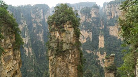 Natural quartz sandstone pillar the Avatar Hallelujah Mountain located in the Zhangjiajie National Forest Park, China