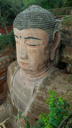 Ancient 71m tall Leshan Buddha, carved out of the mountain in the 8th century CE, China
