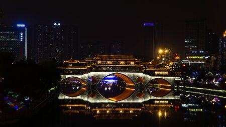 Night view of Anshun bridge and city of Chengdu. China