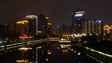 A night view of historical centre Chengdu city, China