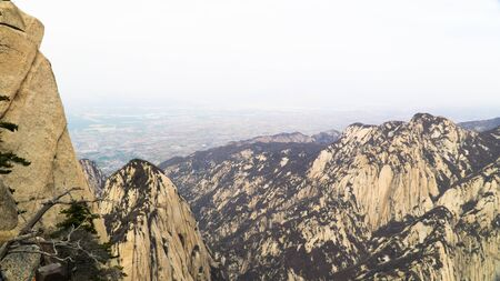 Sacred taoist mountain Mount Huashan, popular touristic place with five main peaks, China