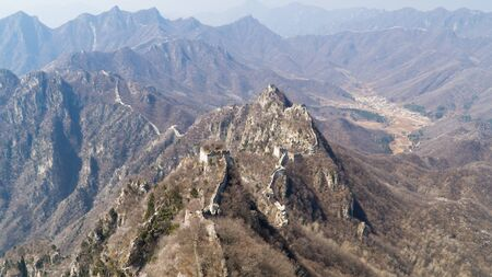 View of world heritage sight The Great Wall of China, section Mutianyu, original part, China