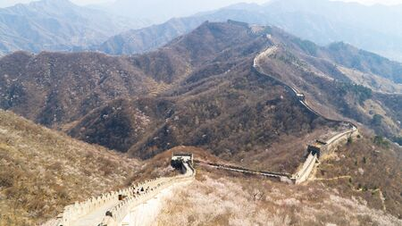 View of world heritage sight The Great Wall of China, section Mutianyu, reconstructed part, China Stock fotó - 128382764