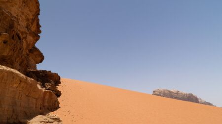 Red sand-dunes in Wadi Rum desert, Jordan.