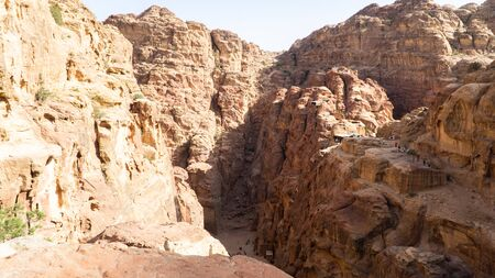 View of beautiful Prehistoric Rock Carved City Petra,  sandstone mountains, Jordan Stok Fotoğraf