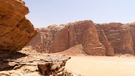 View of rock formations and mountains in the middle of Wadi Rum desert, Jordan. Stok Fotoğraf