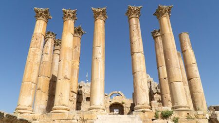 The ruins of the Temple of Artemis situated behind walls of Greco-Roman settlement of Gerasa, Jerash, Jordan
