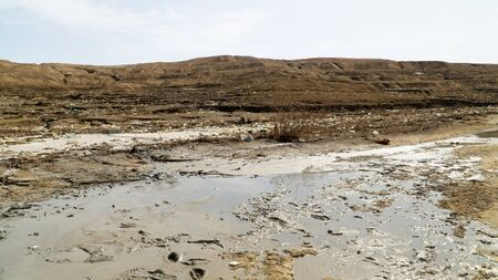 Dirty and muddy coastline of famous Dead Sea, a lot of garbage around Dead Sea, extremely salt lake, Jordan Stok Fotoğraf