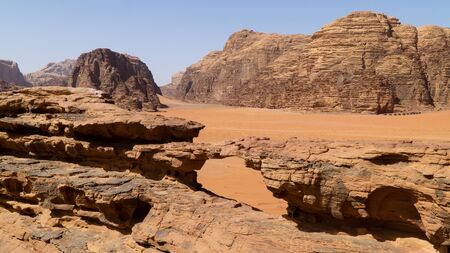 A view of natural rock bridge located in Wadi Rum desert, Jordan