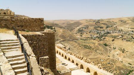 View from the walls of Kerak castle, a large Crusader castle located in al-Karak, Jordan