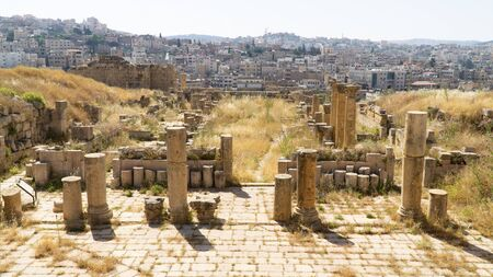 The ruins of the walled Greco-Roman settlement of Gerasa situated in Jerash, archaeological site, Jordan