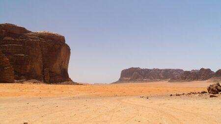View of rock mountains at Wadi Rum desert, Jordan. 写真素材